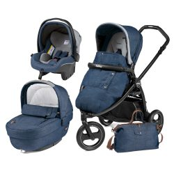 Carucior 3 In 1, Peg Perego, Book Scout, Matt Black, Elite Modular Urban Denim